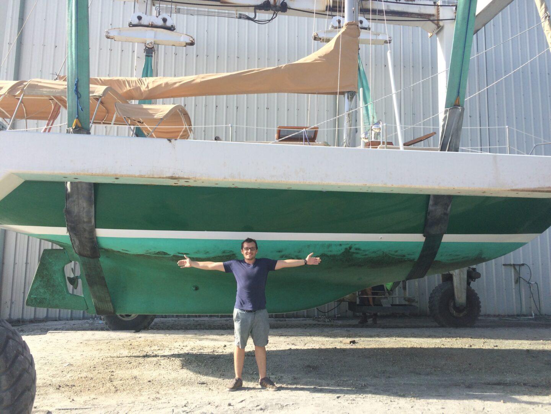 Hauled out sailboat